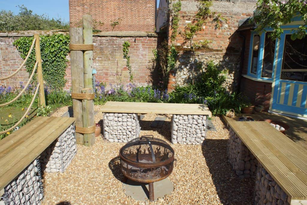 Gabion seats and fire pit