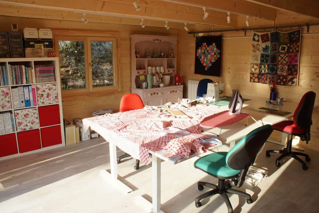 Alison's quilt projects in her new quilt retreat studio